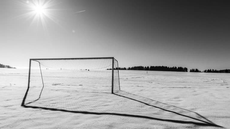 soccer pitch in snow (is soccer a fall or winter sport?)