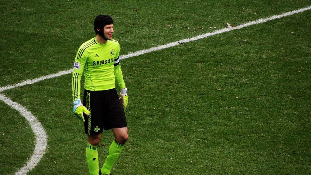 Petr Cech wearing a hat