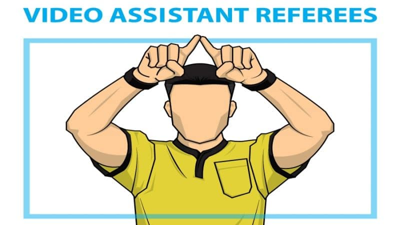 VAR Video assistant referee soccer cartoon
