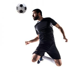 soccer player jumping and heading