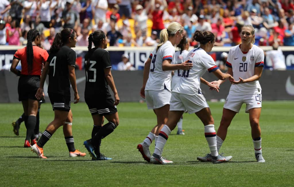 HARRISON, NJ - MAY 26, 2019 U.S. Women's National Soccer Team celebrates scoring goal during friendly game against Mexico as preparation for 2019 Women's World Cup in Harrison, NJ. USA won 3 - 0