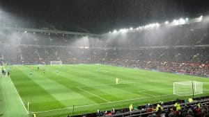 Old Trafford with heavy rain before a game