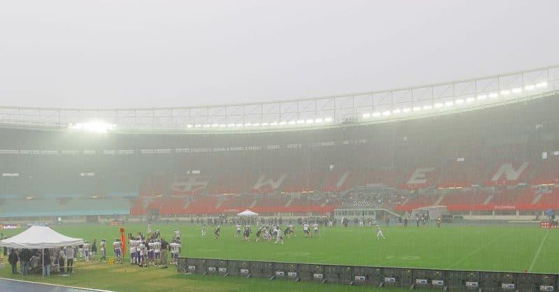 Wembley stadium with heavy rain