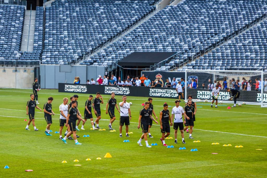 EAST RUTHERFORD, NJ - JULY 25, 2019 Team Real Madrid during pre match training session before 2019 International Champions Cup game vs Atletico de Madrid at MetLife stadium
