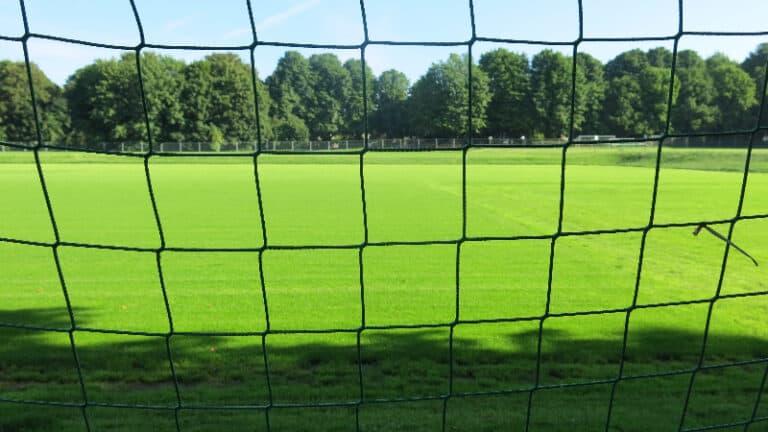behind a soccer net
