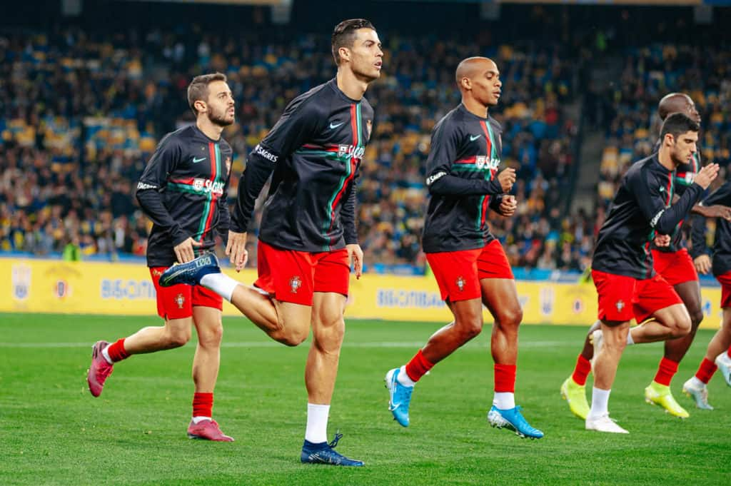 Kyiv, Ukraine - October 14, 2019 Cristiano Ronaldo, captain and forward of Portugal national team during the prematch training at the Olympic Stadium