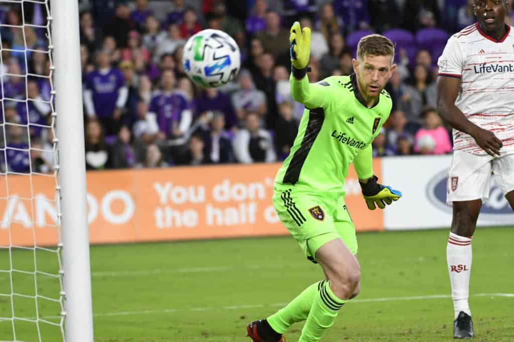 Real Salt Lake Goalkeeper Zac MacMath #18 watches the ball goes out at Exploria Stadium on Saturday February 29, 2020