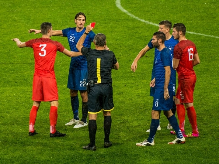 ○ Soccer Red Card Rules - Official With Examples ○ Soccer Referee Showing a Red Card