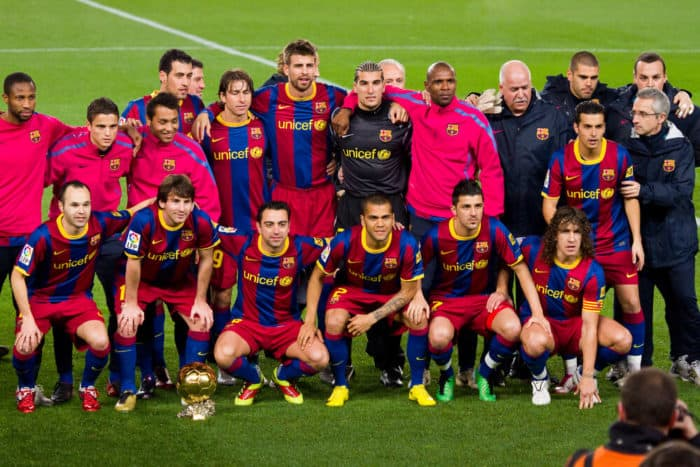 Barcelona Soccer Team Line-up - Messi with the Golden Ball Trophy