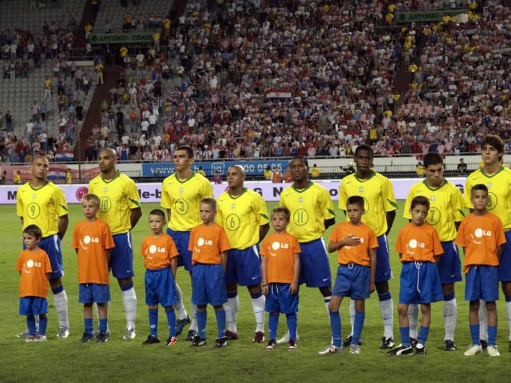 Brazil National Soccer Team Before A Game With Mascots - 2019