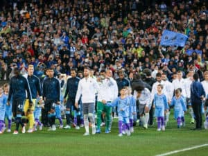 Manchester City vs. Real Madrid Walking out onto the field