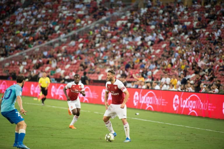 Kallang Singapore 26 Jul 2018 Sead Kolasinac 31 player of Arsenal in action during ICC 2018 Arsenal vs. Atletico de Madrid at National Stadium in Singapore