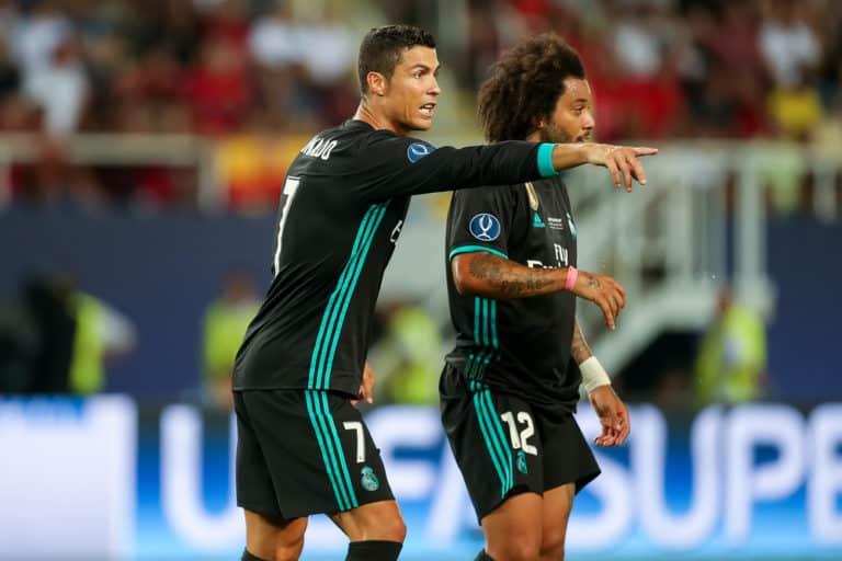 Real Madrid v Manchester United UEFA Super Cup Ronaldo giving Marcelo advice