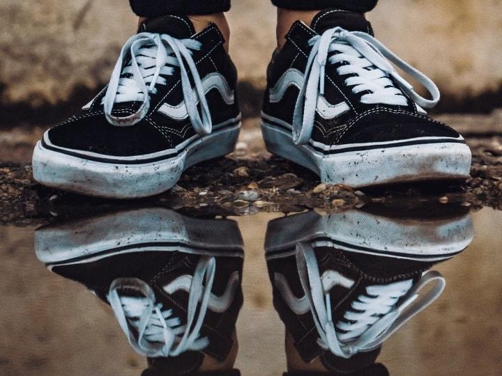 Vans Sneakers Reflected in a pool of water