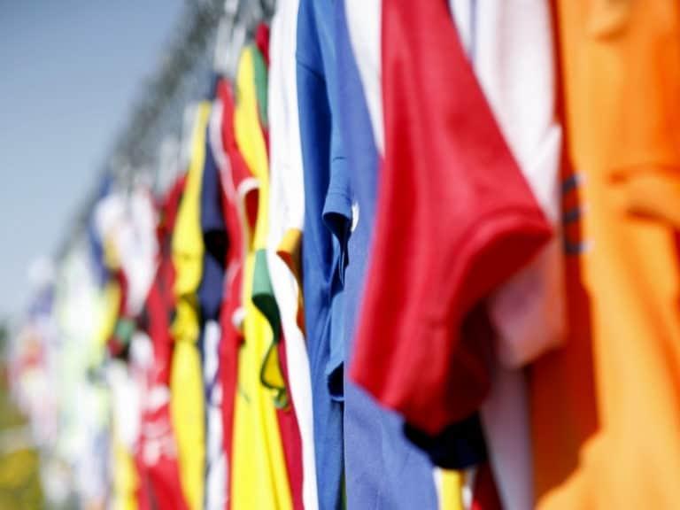 Soccer Jerseys Hanging Up